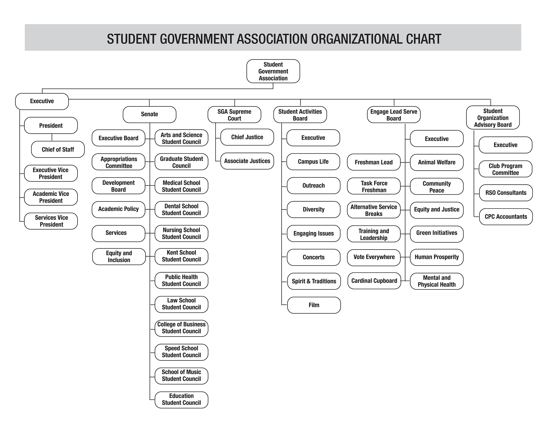University of Louisville Office of Student Government Association Organizational chart