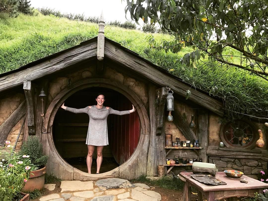 Kimber at Hobbiton in New Zealand