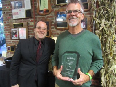 Dave Barker (right) is presented with the 2017 Josh Smith Sustainability Award by Brian Barnes (left)