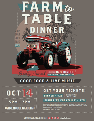 2021 Farm To Table Dinner poster
