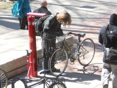 Bike Fix-It Station at Humanities Quad