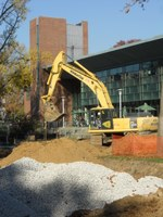 Ekstrom Library west lawn infiltration basin (fall 2012)