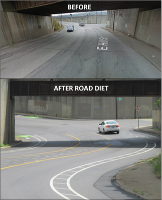 Hill Street Road Diet Before+After