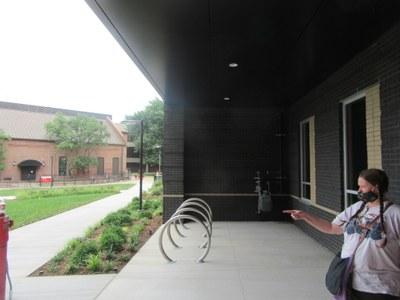Belknap Residence Hall covered bike parking