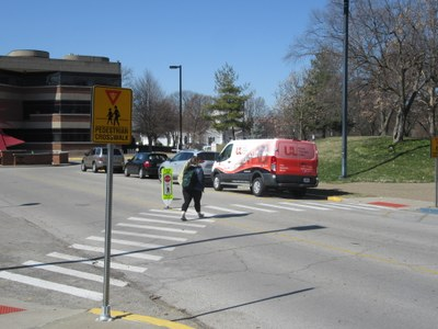 New pedestrian crossing on W. Brandeis Ave.