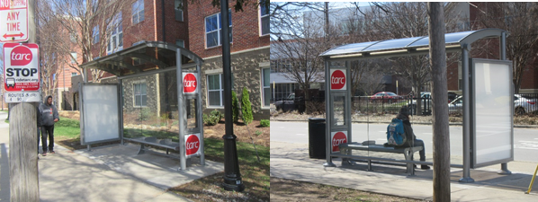 New TARC Shelters on 4th Street 2018.
