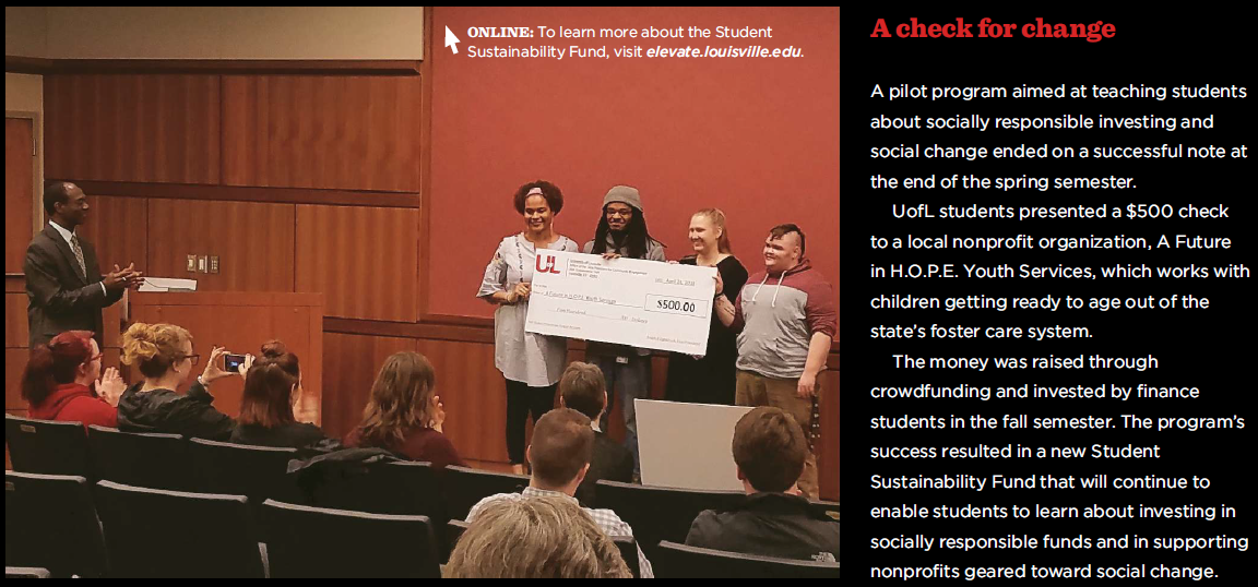 Student Sustainability Fund inaugural check awarded 4-24-18