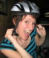 Bike Helmet on UofL Grad Student Marcy Werner