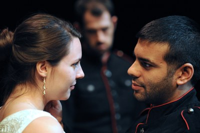 Megan Kubac, Shaleen Cholera, and Travis Stolp in William Shakespeare's OTHELLO.