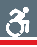 stylized person in a racing wheel chair