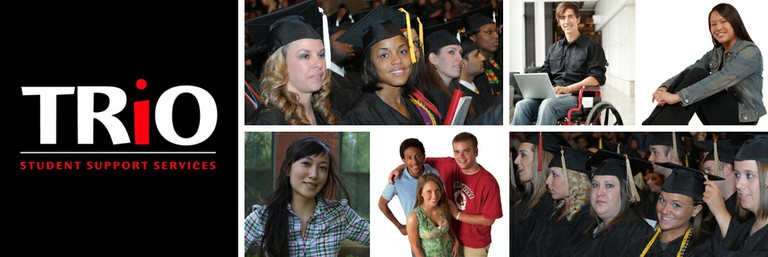 text - TRiO Student Support Services. images of students graduating.