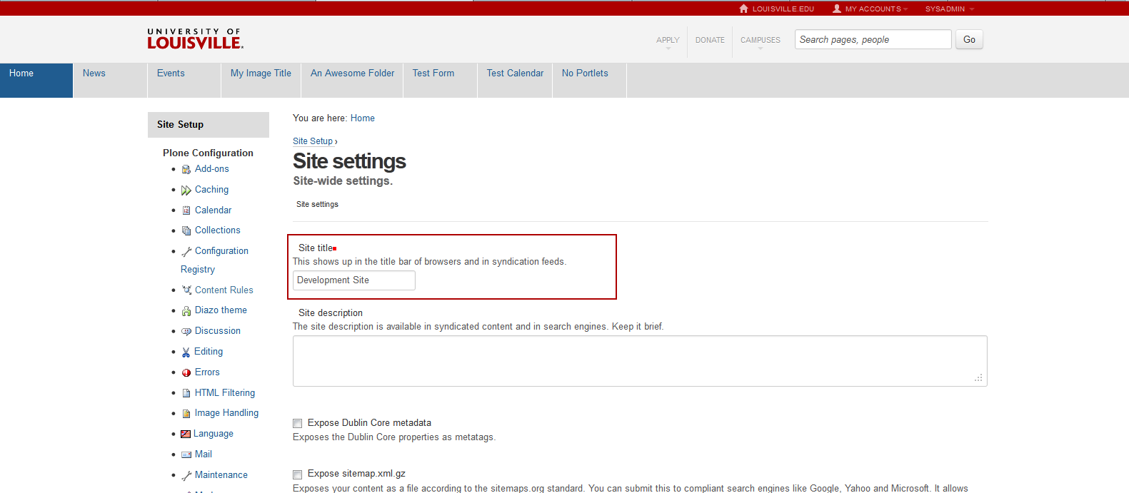 Where to set the site title in the control panel