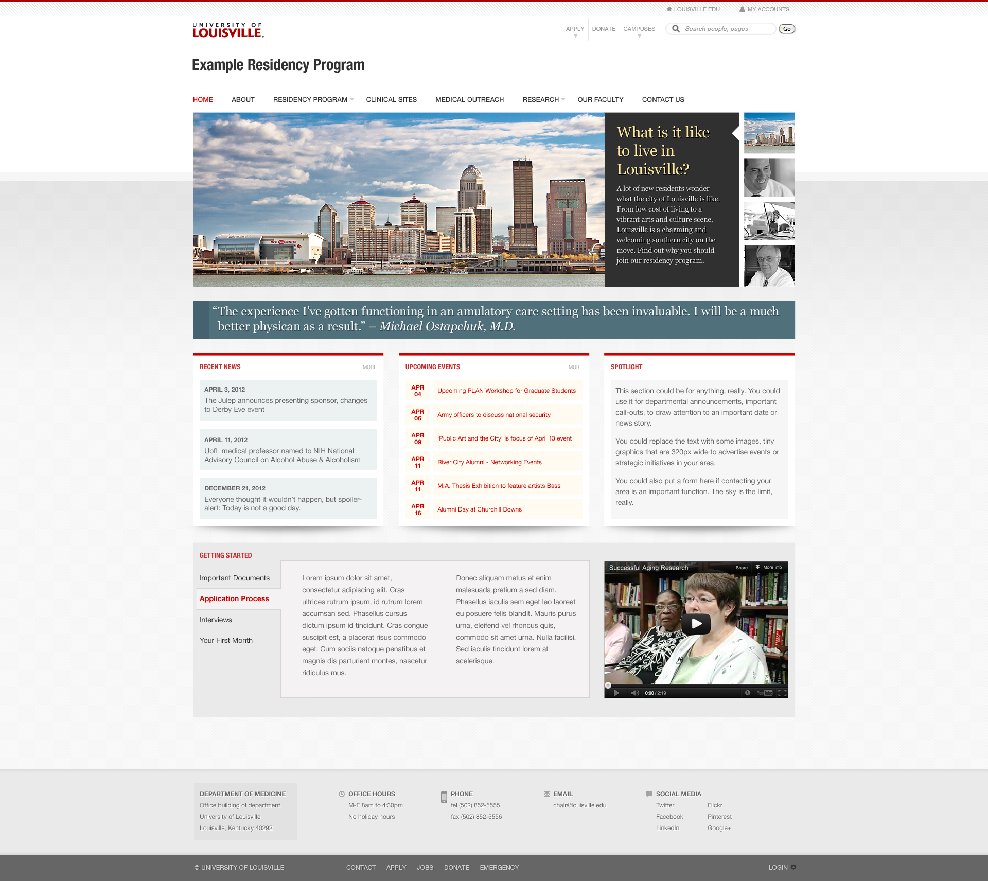 The homepage for the Prime Time Marketing Theme