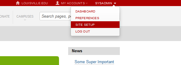 Where the site setup link is