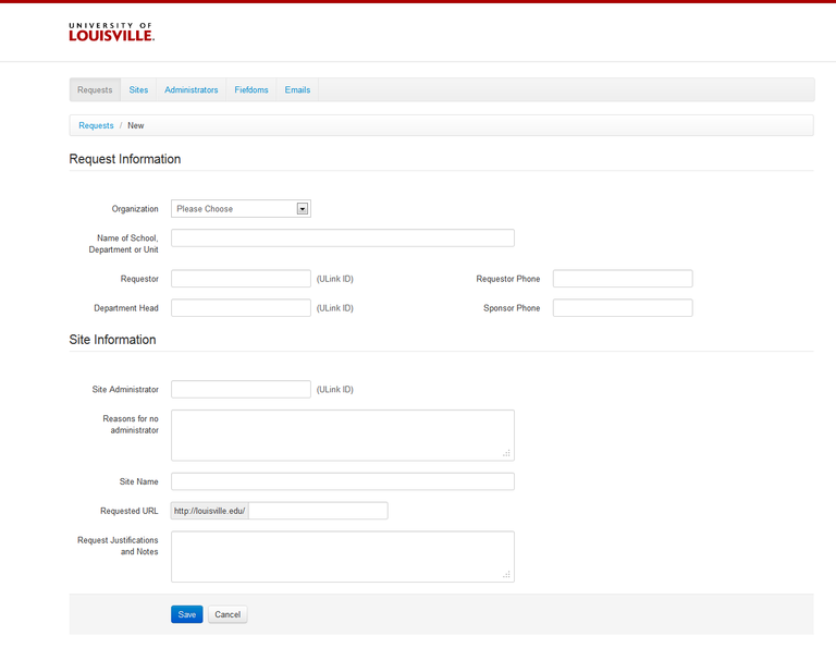A Screen shot of the request form