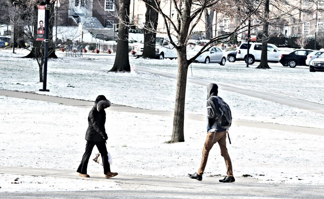 Students on campus in the winter