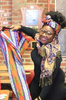 Student Holding African Cloth