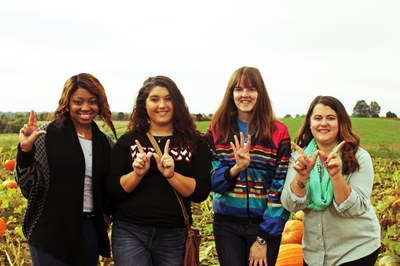 Students at Pumpkin Patch