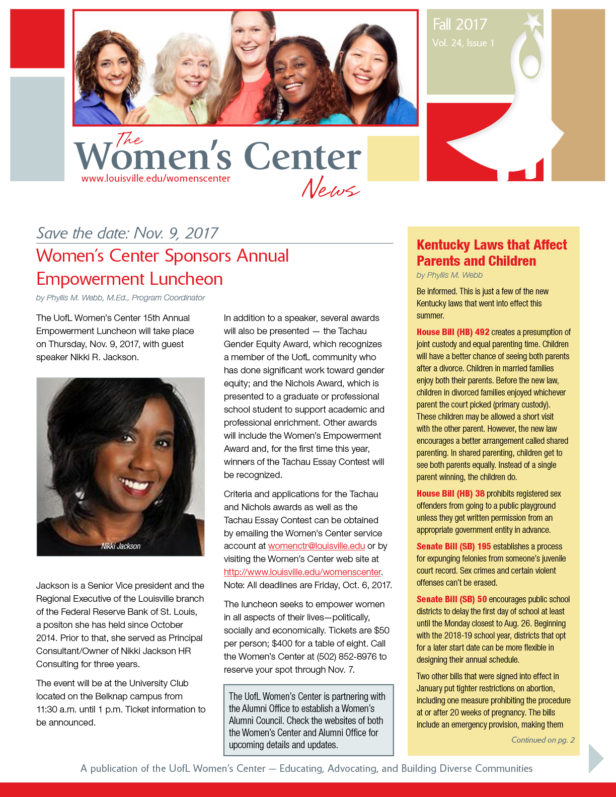 Women's Center Fall 2017 Newsletter