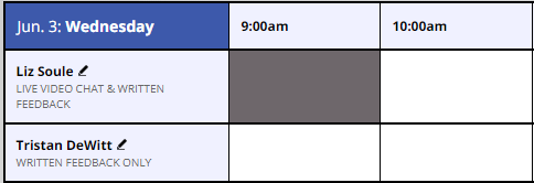 screen shot of schedule showing two consultants' names, Liz Soule and Tristan DeWitt. Under Liz's name, it says