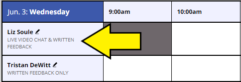 scheduling boxes with consultants names and