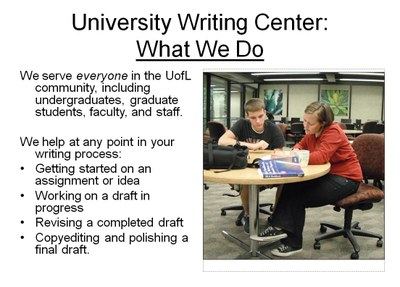 University Writing Center what we do